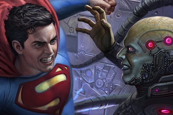 Superman vs Brainiac fan art.  Done in a comic book cover format.